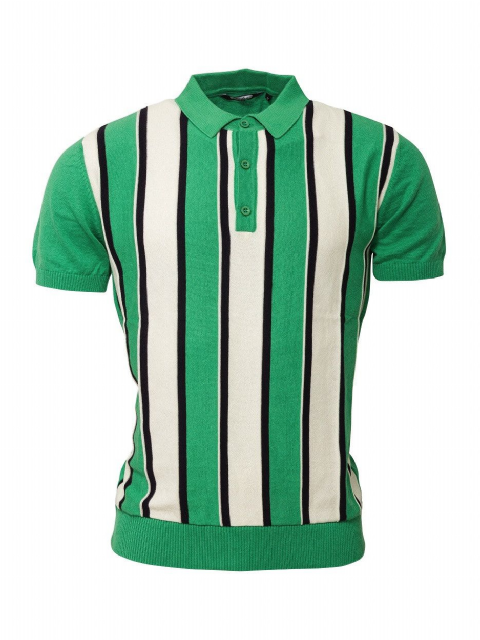 Relco Green & White Striped Knitted Polo